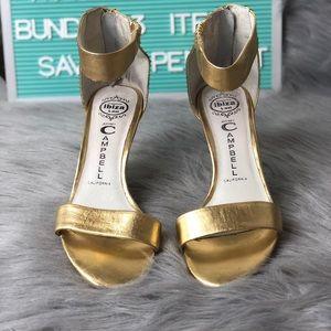 Jeffrey Campbell Hough Zip 2 Gold Heel SZ 7.5 GUC